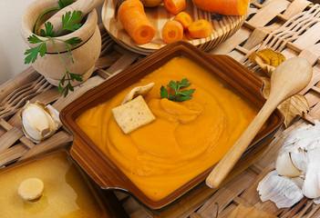 Puré de verduras, zanahorias y calabaza.