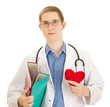 A young medical doctor with folders and a heart