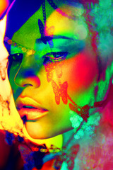 woman color  face art