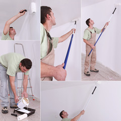 Montage of decorator using long roller