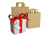 3d illustration: Shopping and prodazha.Gruppa paper bags and gif