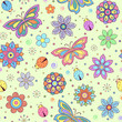 colorful flowers, butterflies and ladybugs