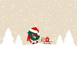 Dark Green Bird Skiing Pulling Sleigh With Gift