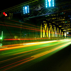 moving car with blur light at night in shanghai