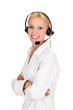 call center operator against white background.