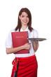 Junge Kellnerin mit ihrer Bewerbungsmappe