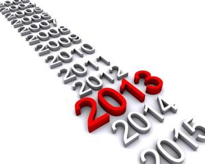 3d illlustration of year 2013