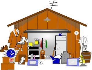 garage sale illustration over white