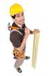 A carpenter with a hammer.