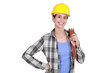 Female laborer on white background