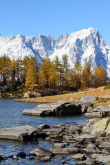 Mont Blanc massif and lake Arpy in autumn, Italy
