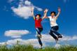 Women running, jumping outdoor
