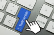 Testimonials. Hand. Keyboard key