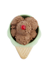 top view chocolate ice cream with cherry