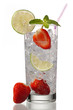 view of a glass with ice lemon slice  and strawberry