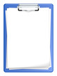 Clipboard with blank paper for Copy space.Blue and isolated.
