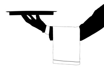 A silhouette of a hand holding a tray