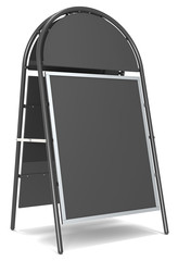 Black Sandwich Board with Logo Plate. Blank for Copy Space.
