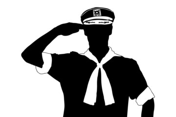 A silhouette of a sailor saluting