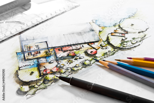Fotobehang Tuin Gartenplanung