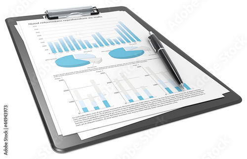 Financial. Clipboard with Papers and Pen. Graphs and Pie charts.