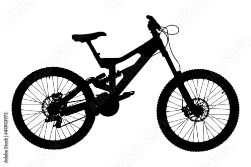A silhouette of a mountain bike