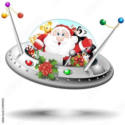 Santa UFO on Spaceship-Babbo Natale Astronauta in Atronave