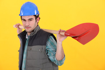 Worker with shovel