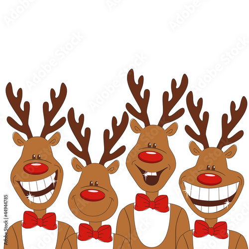 Christmas illustration of cartoon reindeer. Vector