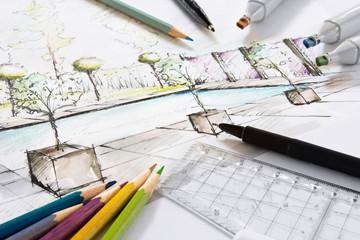 Gartenplanung Ansichtsskizze