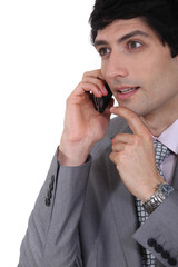 Businessman in a phone conversation