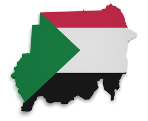 Sudan Map 3d Shape