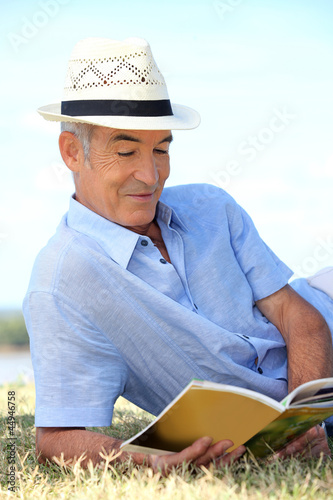 Senior man reading