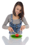 Young woman and tomato.