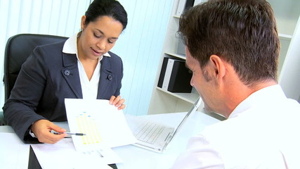 Businessman Discussing Contracts Hispanic Lawyer