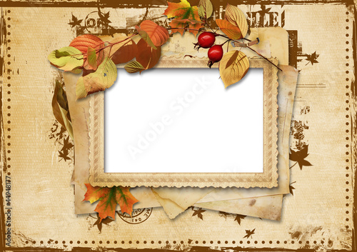 Vintage card with autumn leaves