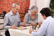 Grandparents and grandson at restaurant