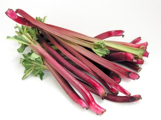 edible stems of rhubarb for compote