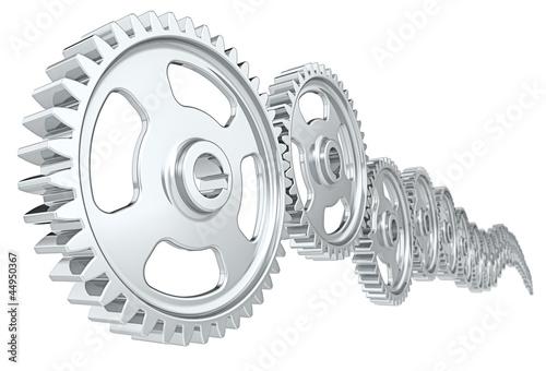 Leinwandbild Motiv Teamwork. Abstract cog wheels. White background.