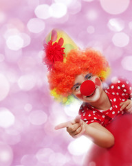 happy clown and bokeh background