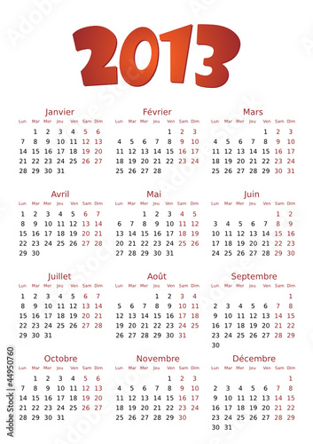 Calendrier 2013 simple - facilement éditable