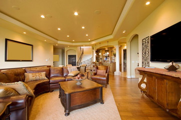 Furnished living room in luxury home