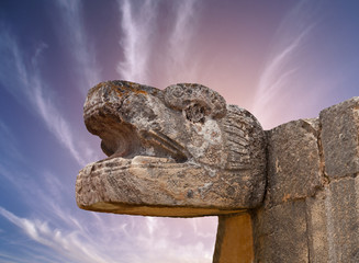 Snake Mayan Sculpture in the city of Chichen Itza, Mexico