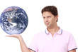 Man holding planet Earth - Uomo che tiene il pianeta Terra