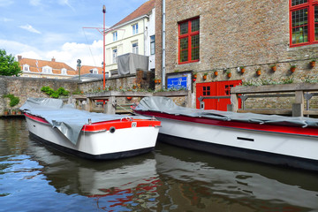 Boats on canal in Bruges