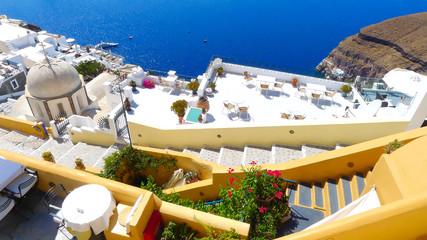Beautiful view of the sea and houses on Santorini island