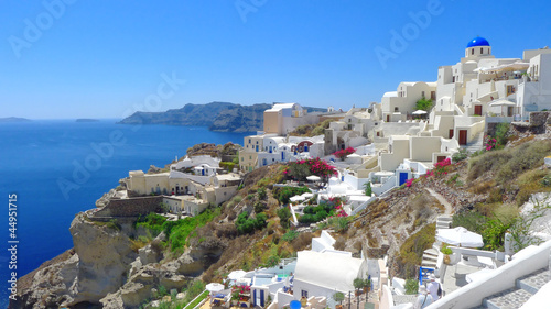 Beautiful panoramic view of Oia, Santorini, Greece.