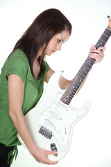 Girl with an electric guitar