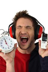 Man in distress regarding time