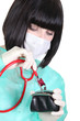 Nurse using stethoscope on purse